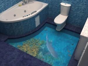Декоративные наливные 3D полы с изображением акулы