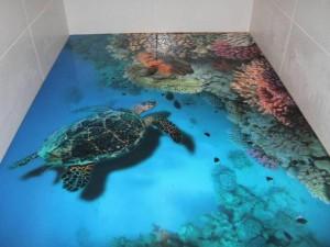 Декоративные наливные 3D полы с изображением черепахи