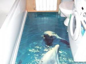 Декоративные наливные 3D полы с изображением дельфинов