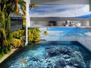 Декоративные наливные 3D полы с изображением морского дна