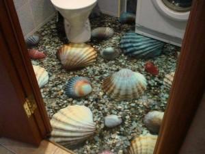 Декоративные наливные 3D полы с изображением ракушек