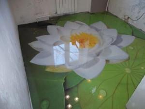 Декоративные наливные 3D полы с изображением кувшинки