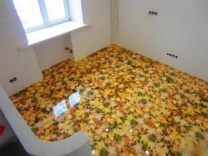 Декоративные наливные 3D полы с изображением листьев