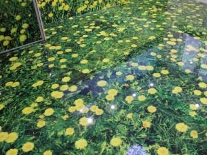 Декоративные наливные 3D полы с изображением ромашек в траве