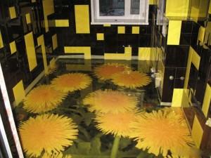 Декоративные наливные 3D полы с изображением одуванчиков